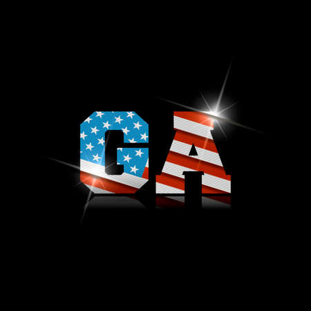Abbreviation GA with the US flag inside on black background.