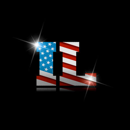 Abbreviation IL with the US flag inside on black background.