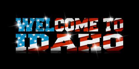 黒い背景に米国の旗を持つ碑文「アイダホへようこそ」。