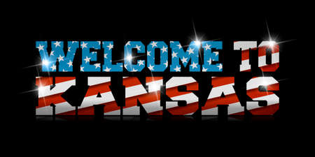 inscription Welcome to Kansas with the US flag inside on black background. Çizim