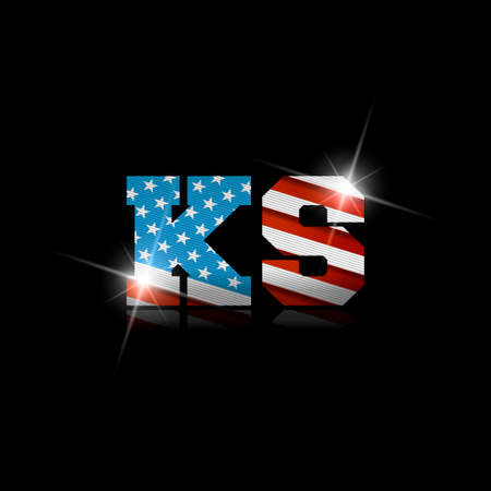 Abbreviation KS with the US flag inside on black background. Ilustrace