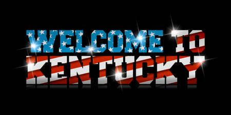 inscription Welcome to Kentucky with the US flag inside on black background. Çizim