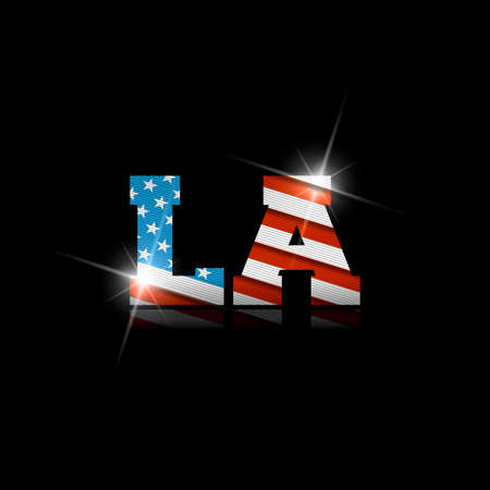 Abbreviation LA with the US flag inside on black background.