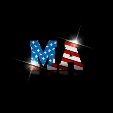 Abbreviation MA with the US flag inside on black background.