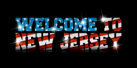 Welcome to New Jersey calligraphy with USA flag design on black background.