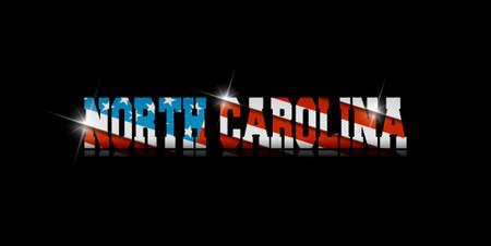 North Carolina calligraphy with USA flag design on black background.