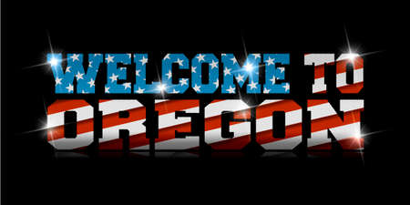 Welcome to Oregon calligraphy with USA flag design on black background.