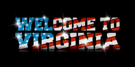 Welcome to Virginia calligraphy with USA flag design on black background. 矢量图像