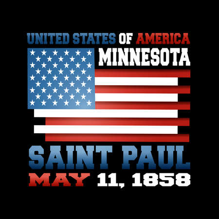 US flag with inscription United States of America, Minnesota, Saint Paul, May 11, 1858 on black background. Illustration
