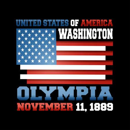 US flag with inscription United States of America, Washington, Olympia, November 11, 1889 on black background.