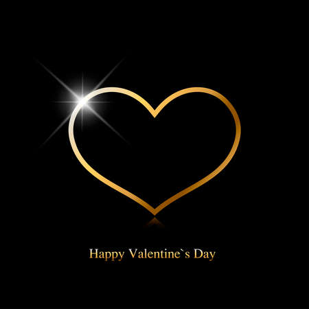 Valentines day greeting card. Gold heart with shine spot on black background