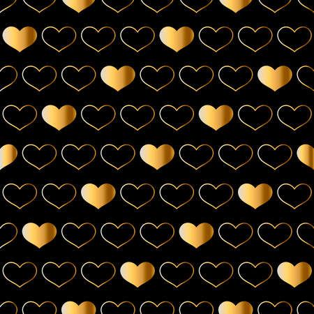 Valentine`s day seamless pattern with gold hearts. Illustration