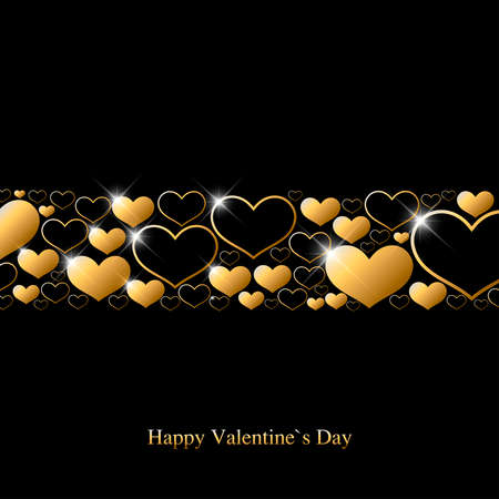 Valentine`s day greeting card with gold hearts and shine spots on black background