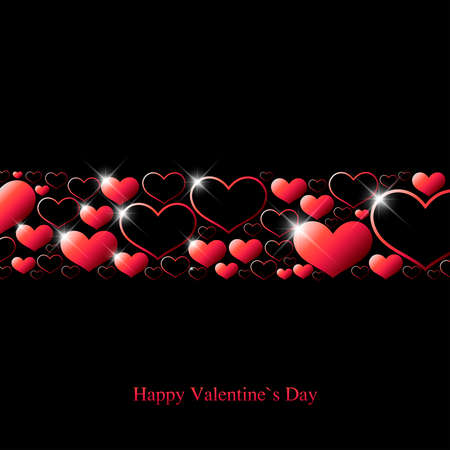 Valentine`s day greeting card with red hearts and shine spots on black background