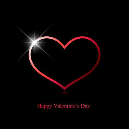 Cartão de dia dos namorados. Coração vermelho com um ponto de brilho em um fundo preto