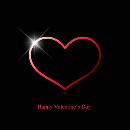 Valentines day greeting card. Red heart with a shine spot on a black background