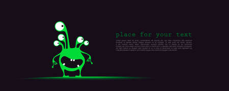 Cute green with funny emotions and place for text on dark background. cartoon illustration