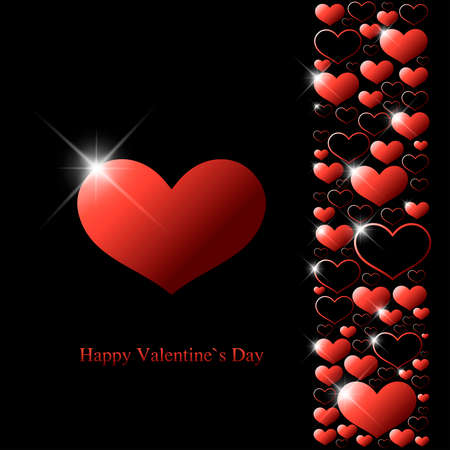Valentine`s day greeting card with red hearts and shine spots on black background.