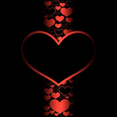 Cartão do dia de Valentim com um coração vermelho grande e muito pouco no fundo preto.