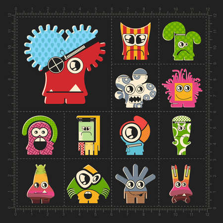 Cute colorful monsters on black. Set of thirteen funny robot stickers for different use. cartoon illustration Illustration