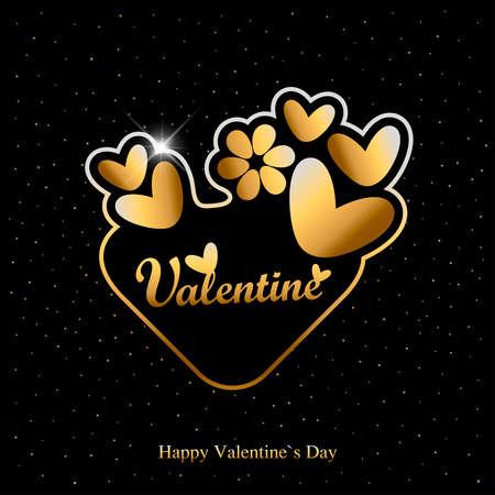 Cartão do dia de são valentim com corações e texto dourados no fundo preto.