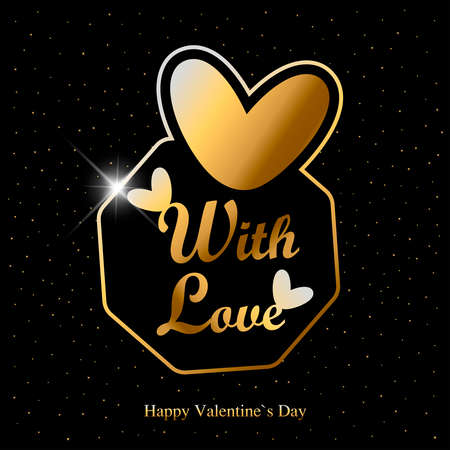 Valentine day greeting card with golden hearts and text on black background.