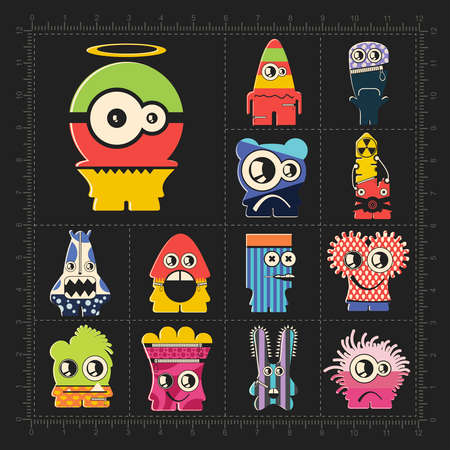 Cute colorful monsters on black. Set of thirteen funny robot stickers for different use. cartoon illustration Illusztráció