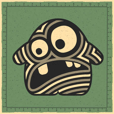 Cute striped monster with emotions on green grunge background. cartoon illustration Illustration