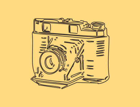 Vintage camera on yellow old paper, line illustration for different use