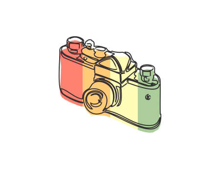 Retro camera with color stripes isolated on white