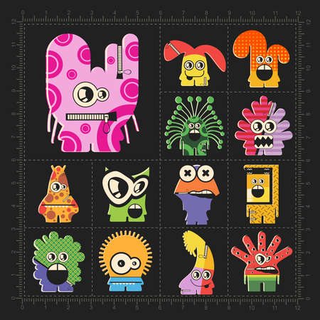 Cute colorful monsters on black. Set of robots stickers for different use. cartoon illustration Ilustração