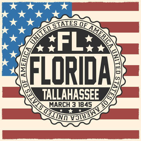 Decorative stamp with text United States of America, FL, Florida, Tallahassee, March 3, 1845 on USA flag. Çizim