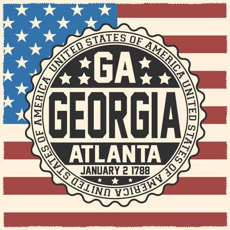 Decorative stamp with text United States of America, GA, Georgia, Atlanta, January 2, 1788 on USA flag.