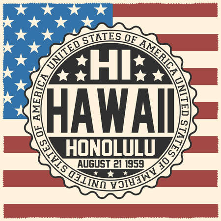 Decorative stamp with text United States of America, HI, Hawaii, Honolulu, August 21, 1959 on USA flag. Çizim