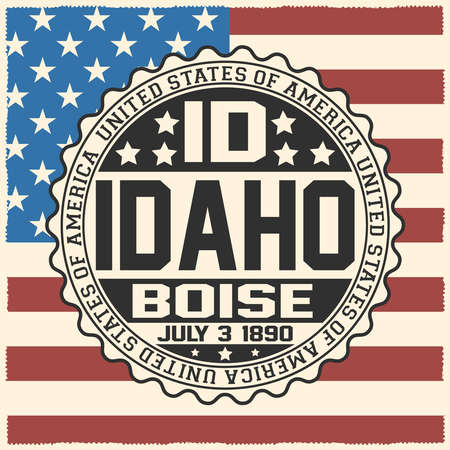 Decorative stamp with text United States of America, ID, Idaho, Boise, July 3, 1890 on USA flag.
