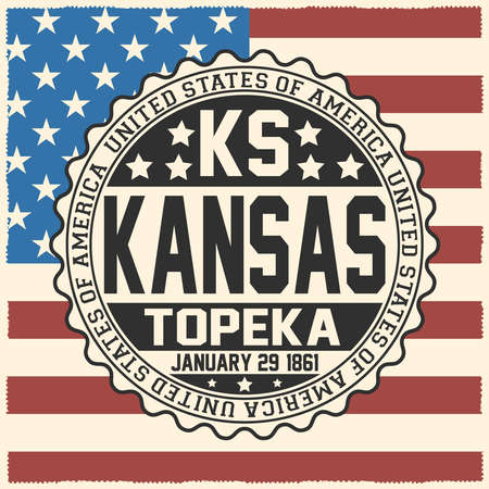 Decorative stamp with text United States of America, KS, Kansas, Topeka, January 29, 1861 on USA flag.