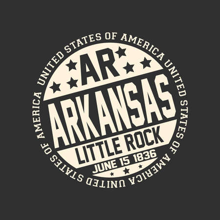 Decorative stamp on black background with postal abbreviations AR, state name Arkansas, capital Little Rock and date become a state June 15, 1836 with text United States of America around it. Çizim