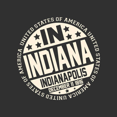 Decorative stamp on black background with postal abbreviation IN, state name Indiana, capital Indianapolis and date become a state December 11, 1816 with text United States of America around it.