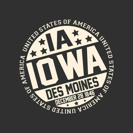 Decorative stamp on black background with postal abbreviation IA, state name Iowa, capital Des Moines and date become a state December 28, 1846 with text United States of America around it. Çizim