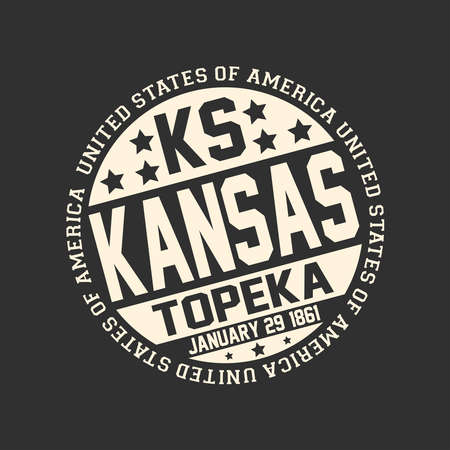 Decorative stamp on black background with postal abbreviation KS, state name Kansas, capital Topeka and date become January 29, 1861 with text United States of America around it. Ilustrace