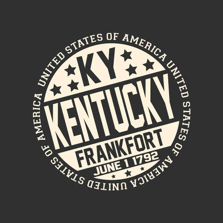 Decorative stamp on black background with postal abbreviation KY, state name Kentucky, capital Frankfort and date become a state June 1, 1792 with text United States of America around it. Çizim