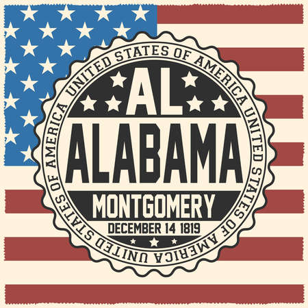 Decorative stamp with text United States of America, AL, Alabama, Montgomery, December 14, 1819 on USA flag