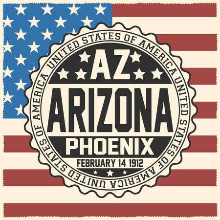 Decorative stamp with text United States of America, AZ, Arizona, Phoenix, February 14, 1912 on USA flag