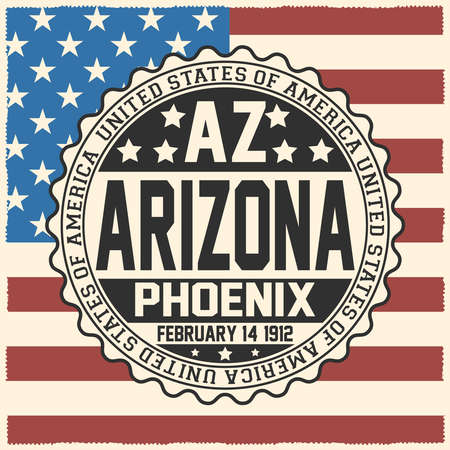 Decorative stamp with text United States of America, AZ, Arizona, Phoenix, February 14, 1912 on USA flag