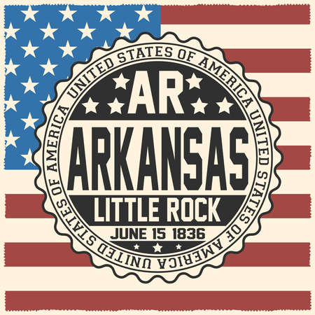 Decorative stamp with text United States of America, AR, Arkansas, Little Rock, June 15, 1836 on USA flag