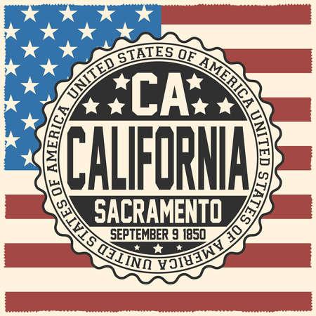 Decorative stamp with text United States of America, CA, California, Sacramento September 9, 1850 on USA flag Çizim