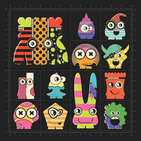 Cute colorful monsters on black. Set of robots stickers for different use. cartoon illustration Illustration