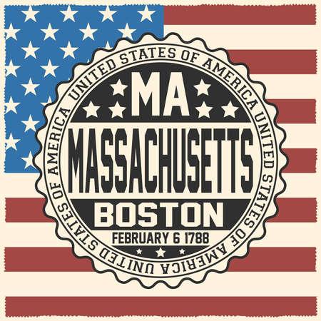 Decorative stamp with text United States of America, MA, Massachusetts, Boston, February 6, 1788 on USA flag.
