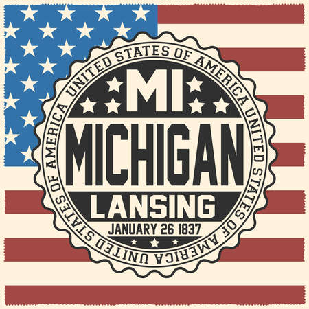 Decorative stamp with text United States of America, MI, Michigan, Lansing, January 26, 1837 on USA flag. Çizim