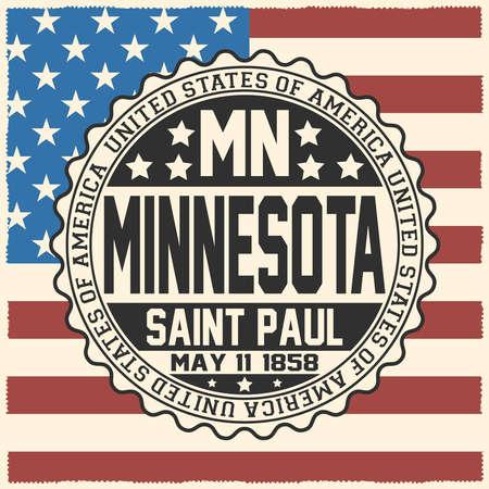 Decorative stamp with text United States of America, MN, Minnesota, Saint Paul, May 11, 1858 on USA flag. Çizim